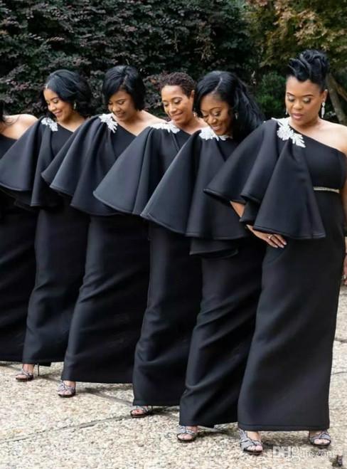 Black Mermaid Satin One Shoulder Appliques Bridesmaid Dress 2020