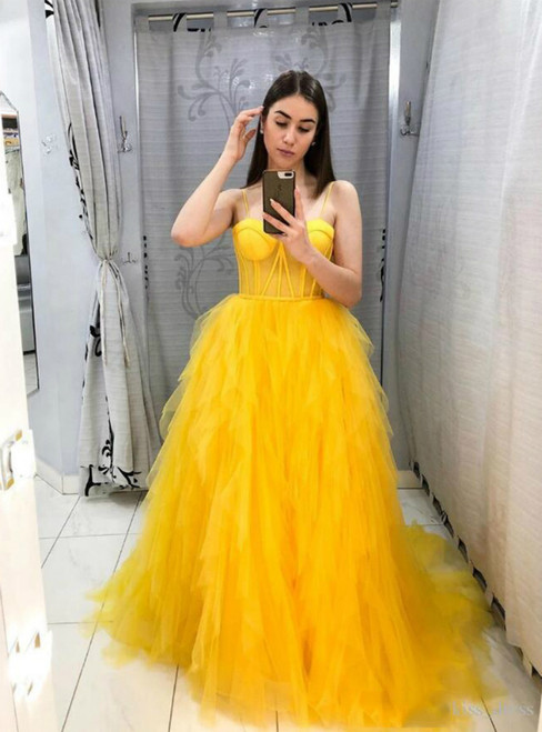 A-Line Formal Yellow Tulle Spaghetti Straps Prom Dress 2020