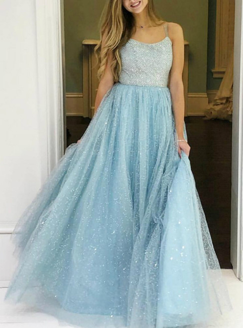 A-Line Light Blue Tulle Double Spagehtti Straps Beading Prom Dress 2020