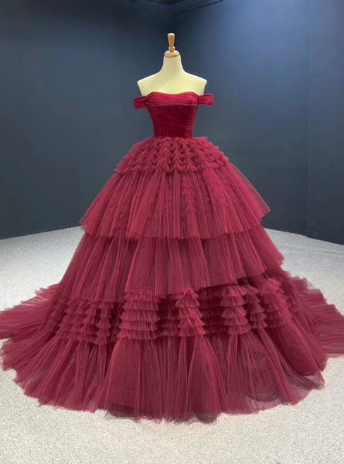Burgundy Ball Gown Tulle Off the Shoulder Pleats Prom Dress 2020