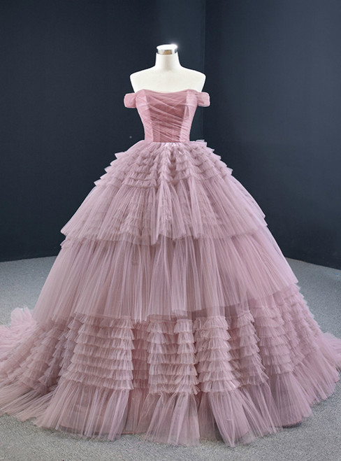 Pink Ball Gown Tulle Off the Shoulder Pleats Prom Dress 2020