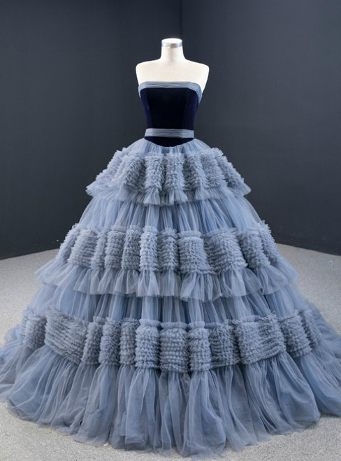 Gray Blue Ball Gown Tulle Strapless Tiers Pleats Prom Dress