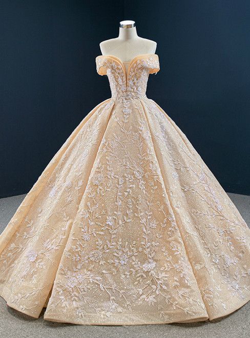 Gold Ball Gown Sequins Beading Off the Shoulder Prom Dress 2020