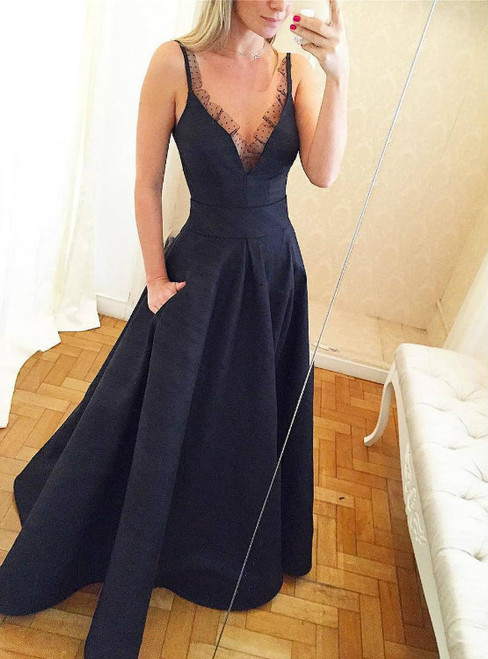 Lace Edge Deep V neck Satin Long Evening Dress with Pockets