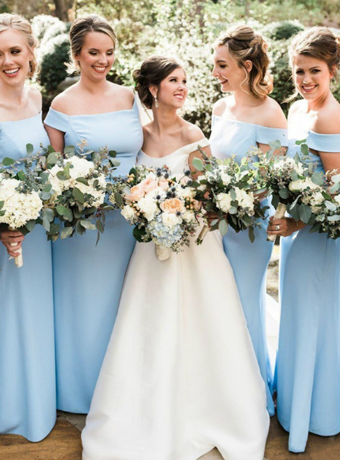 Light Blue Sheath Satin Off the Shoulder Bridesmaid Dress 2020