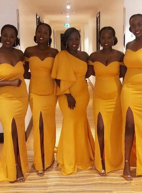 Yellow Mermaid Satin Off the Shoulder Bridesmaid Dress With Side Split