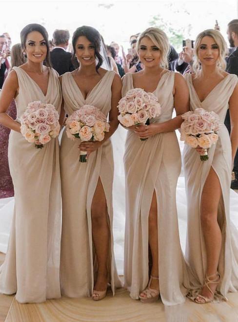 Champagne Chiffon Deep V-neck Pleats Bridesmaid Dress 2020