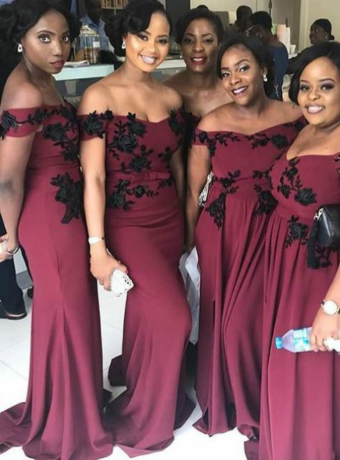 Burgundy Mermaid Satin Off the Shoulder Appliques Bridesmaid Dress 2020
