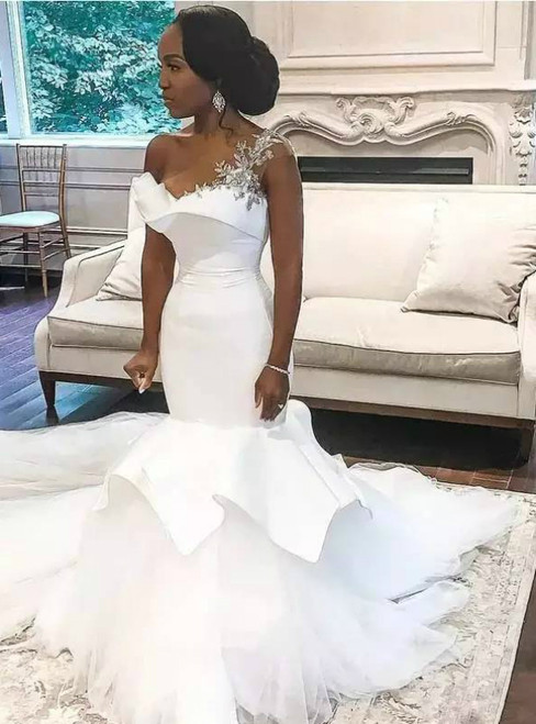 White Mermaid Satin Tulle One Shoulder Appliques Wedding Dress 2020
