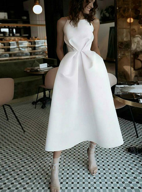 Simple A-line White Satin Spaghetti Strap Tea Length Wedding Dress With Pocket 2020