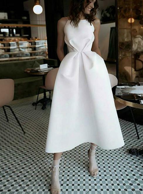 Simple A-line White Satin Spaghetti Strap Tea Length Wedding Dress With Pocket 2020