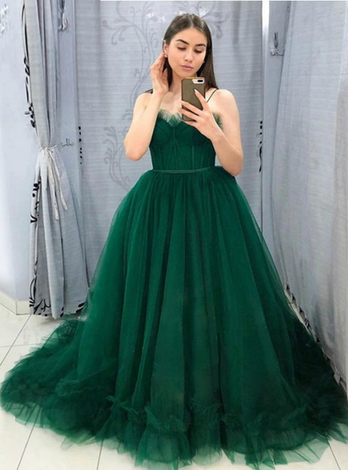 A-Line Green Tulle Spaghetti Straps Puffy Sweet 16 Prom Dress 2020