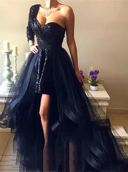 A-Line Black Tulle Sequins One Shoulder Long Sleeve Prom Dresses With Detachable Train 2020