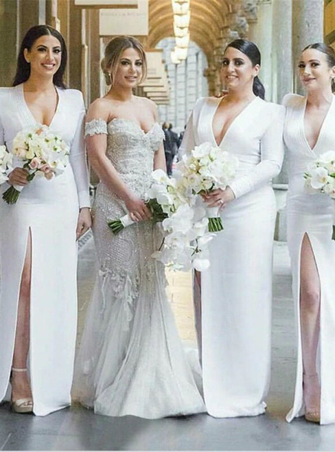 White Satin V Neck Sheath Style High Split Long Sleeve Bridesmaid Dresses 2020