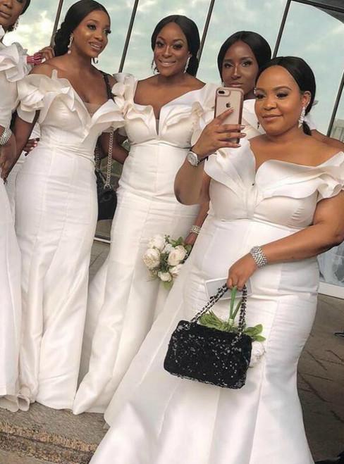 White Mermaid Satin Off the Shoulder Bridesmaid Dress 2020