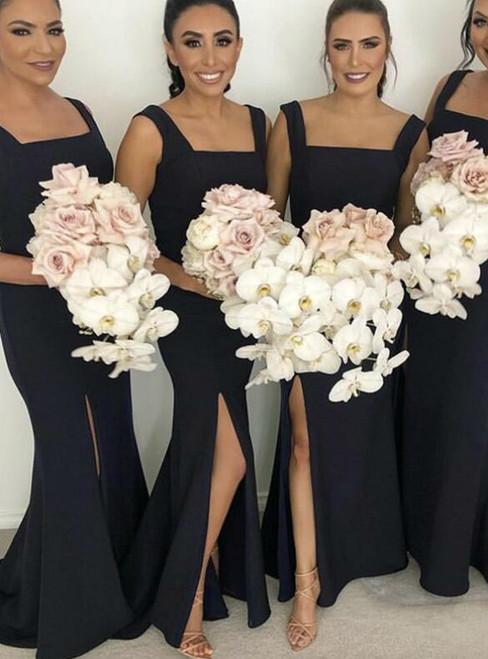 Black Square Straps Sweep Train Satin Mermaid Bridesmaid Dresses 2020