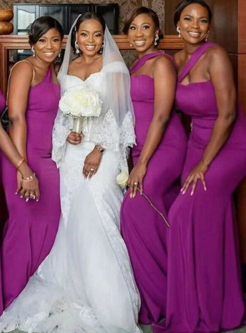Purple Mermaid Satin Sleeveless Bridesmaid Dresses 2020