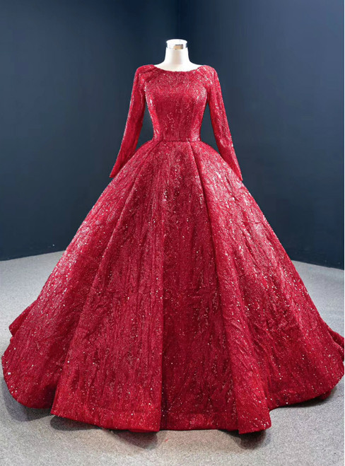 Be The Prom Queen In Red Ball Gown Sequins Long Sleeve Formal Prom Dress