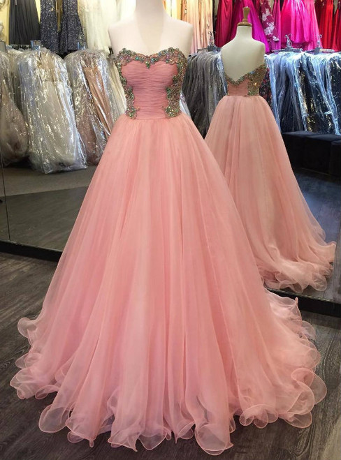 Colorful Beading Sweetheart Puffy Organza Prom Dresses Long