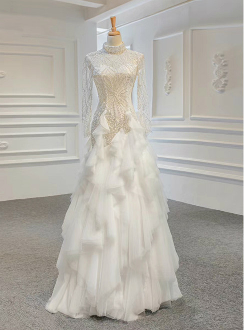 Never Miss Out On White Sheath Tulle High Neck Long Sleeve Beading Wedding Dress