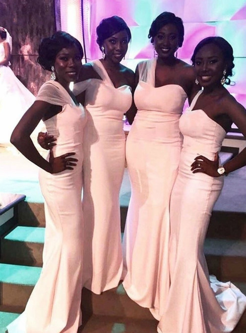 Find The Perfect Shade Of Pink Mermaid Satin One Shoulder Long Bridesmaid Dresses 2020