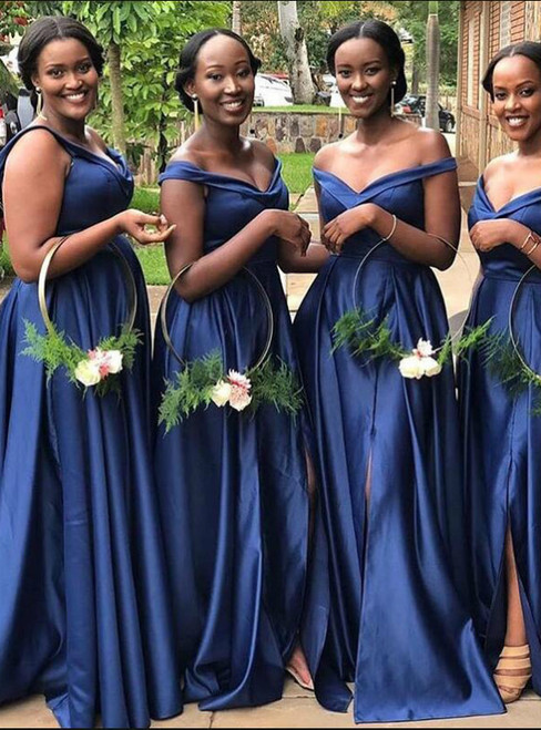 Buy From Navy Blue Simple Satin Off the Shoulder Bridesmaid Dress  2020