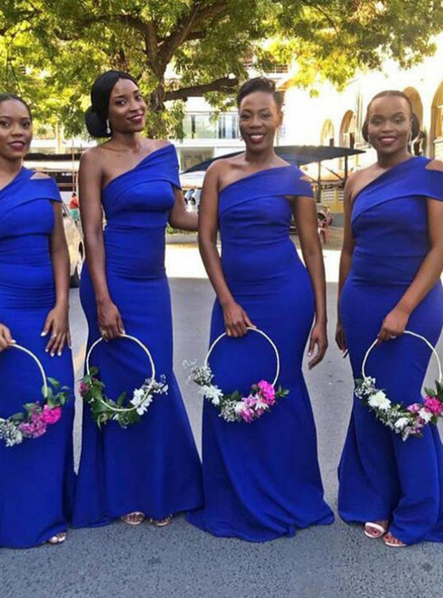 A Great Variety Of Simple Royal Blue Mermaid Satin Long Bridesmaid Dress