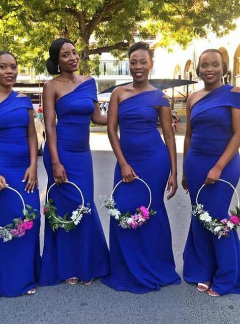 A Great Variety Of Simple Royal Blue Mermaid Satin Long Bridesmaid Dress