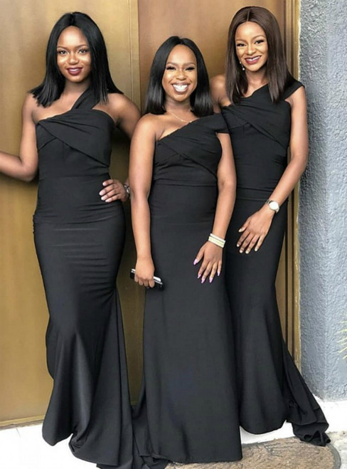 Demand Attention In Black Mermaid Satin One Shoulder Floor Length Bridesmaid Dresses 2020