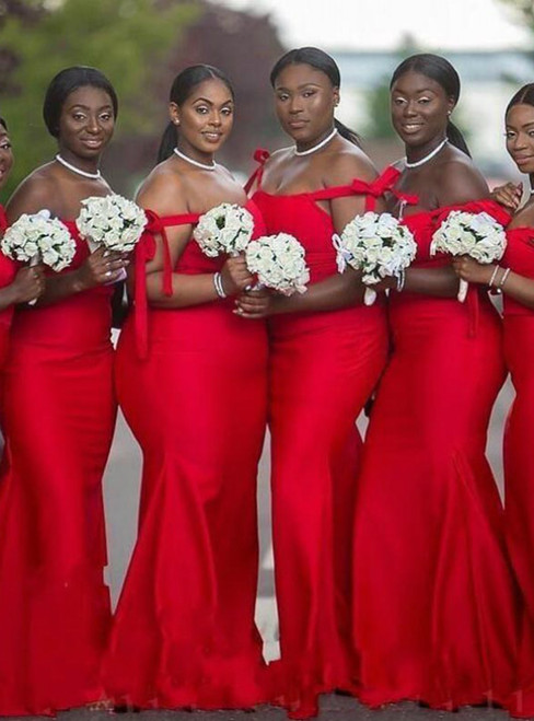 We Offer a Large Numbers Of Red Mermaid Satin Off the Shoulder Long Bridesmaid Dress