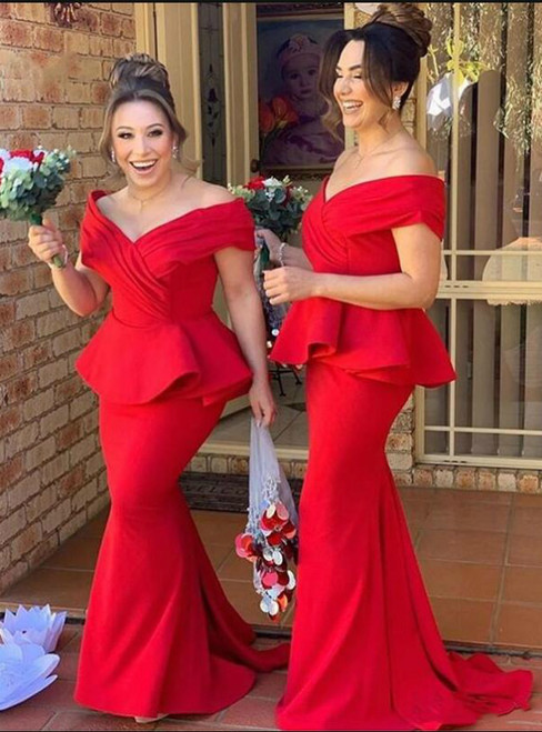 We Offer a Variety Of Red Mermaid Satin Off the Shoulder Pleats Bridesmaid Dress 2020