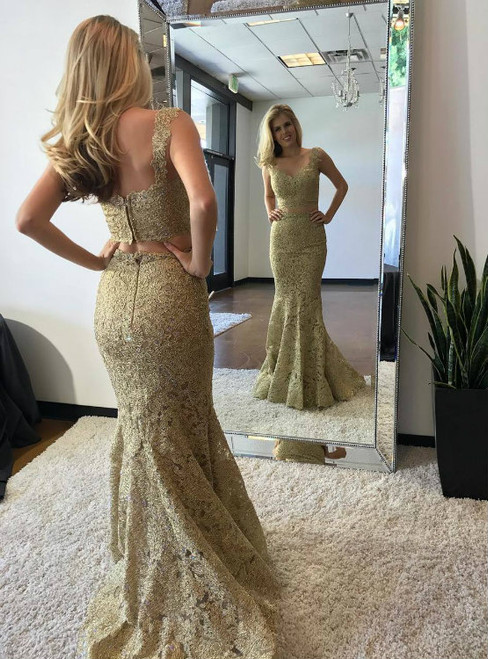 Gold Lace Two Piece Mermaid Prom Evening Dresses Long 2017