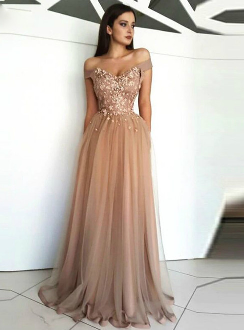 Champagne Off the Shoulder Tulle Lace Flowers Prom Dresses 2020