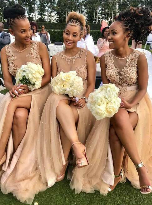 At Great Prices A-Line Dark Champagne Tulle Appliques Pearls Bridesmaid Dress