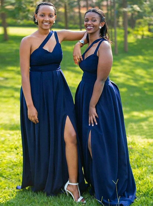 For Your Big Night Dark Blue Satin One Shoulder Bridesmaid Dress With Side Split