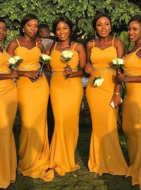 Find Your Dress For Prom! Yellow Mermaid Satin Spaghetti Straps Appliques Bridesmaid Dress