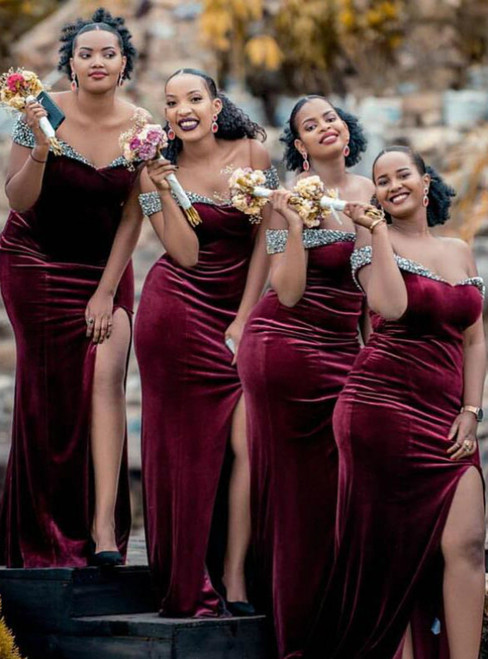 Best For You Burgundy Mermaid Velvet Off the Shoulder Beading Bridesmaid Dress 2020