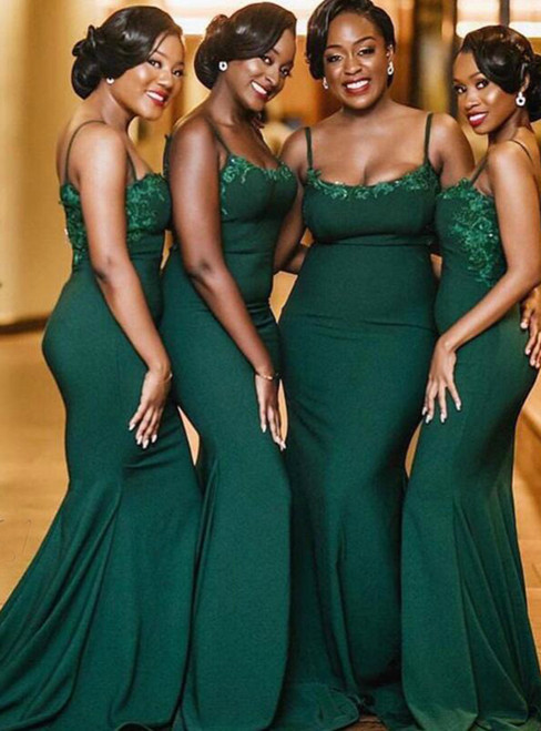 Is Now Available Dark Green Lace Appliques Mermaid Spaghetti Straps Bridesmaid Dresses