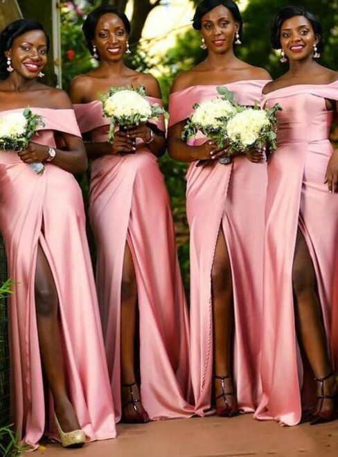Shops Around The World A-Line Pink Satin Off the Shoulder Long Bridesmaid Dress