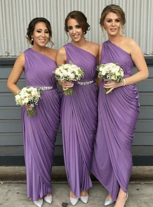 Check Out Entire Collection Purple One Shoulder Pleats Beading Bridesmaid Dresses