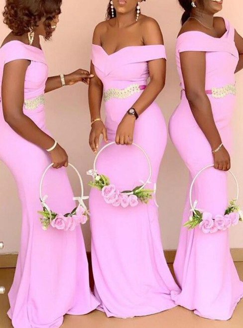 For This Year's Biggest Dance Sexy Off Shoulder Pink Mermaid Long Bridesmaid Dress With Sash