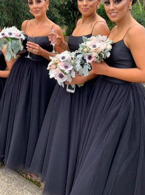 Make Your Prom a Dream A-Line Black Tulle Spagehtti Straps Bridesmaid Dress