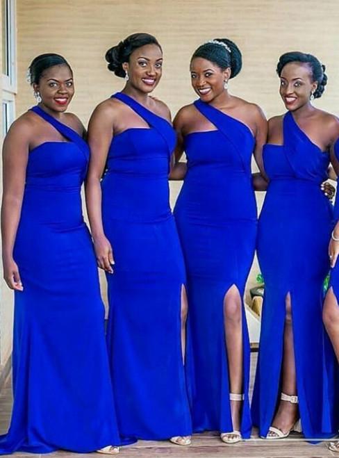 Royal Blue Mermaid Satin One Shoulder Bridesmaid Dress