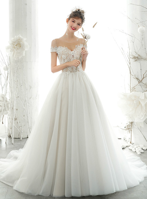 White Ball Gown Tulle Beading Backless Wedding Dress 2020