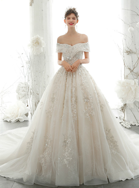 Champagne Ball Gown Tulle Sequins Appliques Beading Wedding Dress 2020