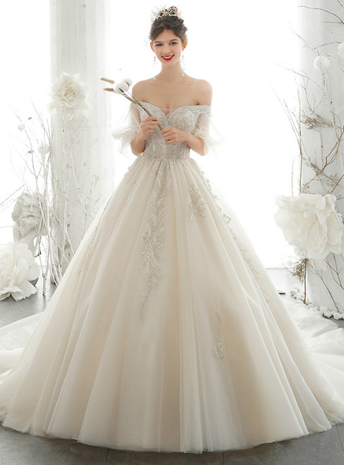 Champagne Ball Gown Tulle Off the Shoulder Puff SLeeve Wedding Dress 2020