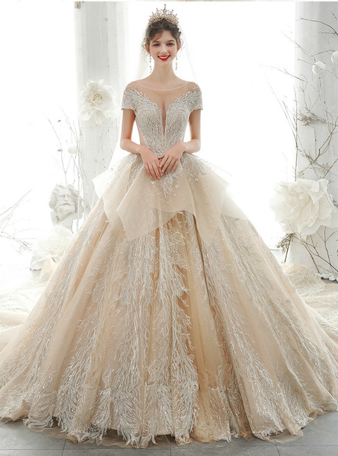 Wear a Classic Dark Champagne Ball Gown Tulle Cap Sleeve Sequins Backless Wedding Dress