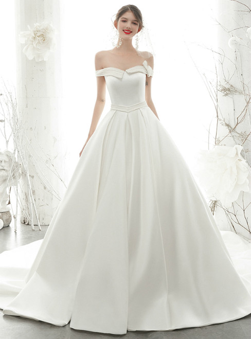 Looking For Cute And Stylish White Ball Gown Satin Off the Shoulder Pearls Wedding Dress