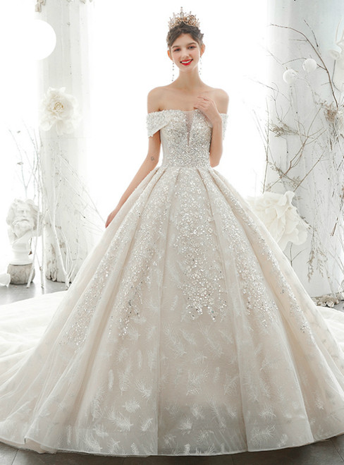 Shop For The Perfect Light Champagne Ball Gown Tulle Off the Shoulder Beading Sequisn Wedding Dress With Long Train