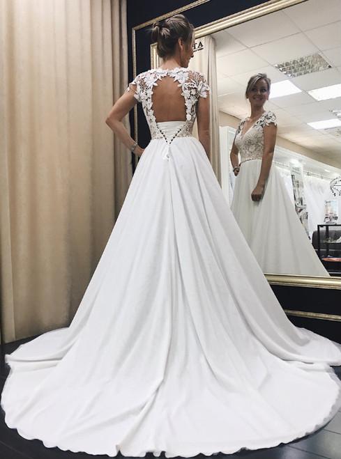 Wonderful Lace Corset Satin Wedding Dresses with Cap Sleeves 2017